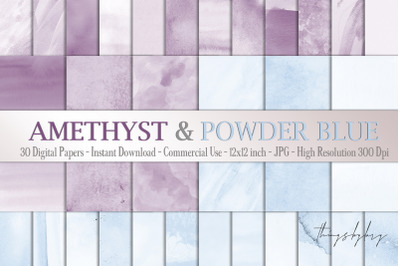 30 Ombre Amethyst & Powder Blue Watercolor Digital Papers