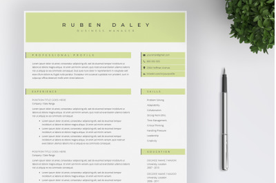 Resume Template an Cover Letter / 4 pages