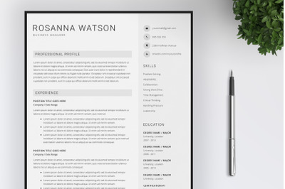 Resume template   CV   4 Pages Resume   Cover Letter