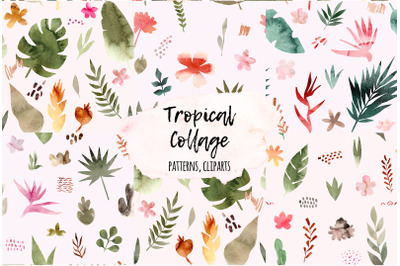 Tropical Collage. Seamless Patterns, Cliparts