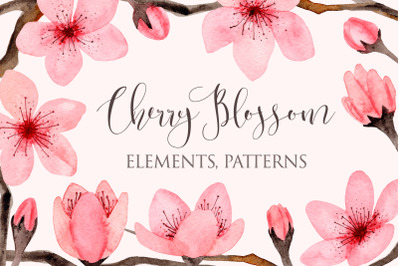 Watercolor Cherry Blossom. Seamless Patterns