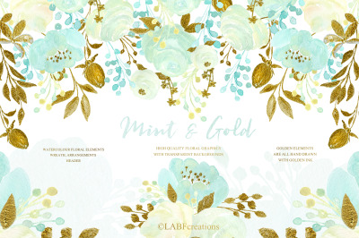 Mint and Gold. Watercolor floral clipart.