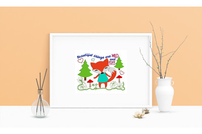 Machine Embroidery Design Saying Fox Wall Art Decor