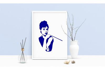 Machine Embroidery Design Artist Audrey Hepburn Actress Portrait Wall