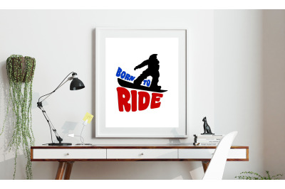Machine Embroidery Design Saying Born To Ride Snowboard Embroidery Art