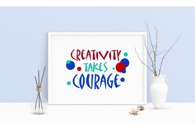 Machine Embroidery Design Quote Matisse Creativity Takes Courage