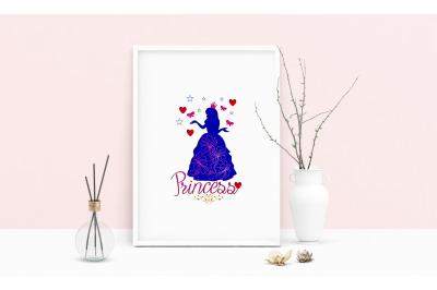 Machine Embroidery Design Saying Princess Wall Art Decor Embroidery