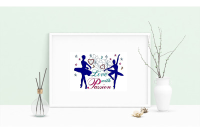 Machine Embroidery Design Saying Live With Passion Art Wall Decor