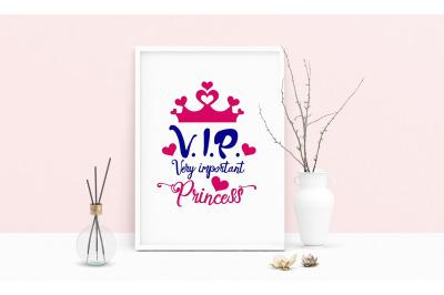 Machine Embroidery Design Princess Quote VIP Wall Decor Embroidery Art