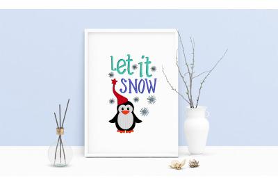 Machine Embroidery Design Gnome Life Snowflakes Wall Art