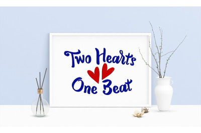 Machine Embroidery Design Saying Two Hearts One Beat Hearts Wedding