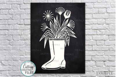 Flowers Wellies Rain boots svg dxf laser paper cut out template