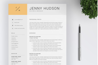 Resume Template and Cover Letter / 4 Pages Resume Template