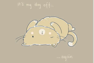 Day Off Cat | Clip Art Illustration | PNG/JPEG