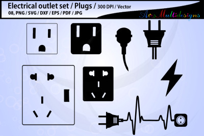 electric outlet plug electricity SVG / electric svg outline / printabl