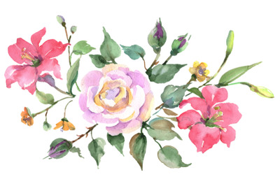 Bouquet with pink rose Watercolor png