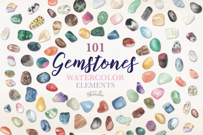 101 Gemstones Watercolor Package Elements Gem Stones Crystals  Clipart