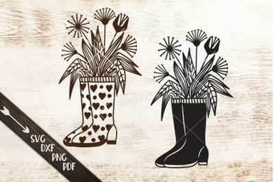Wellies rain boots with flowers svg dxf cutting templates