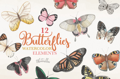 Watercolor Butterfly Clipart Elements Butterflies Insects Painted PNG