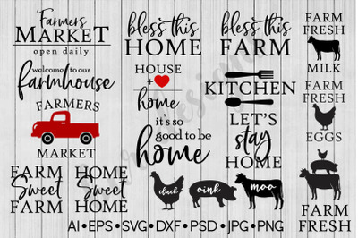 Farmhouse SVG Bundle, SVG File, DXF