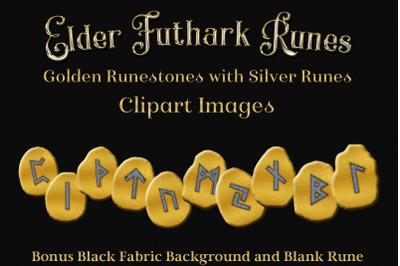 Elder Futhark Runes - Golden Runestone Clipart Images