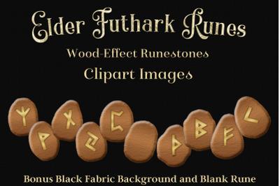 Elder Futhark Runes - Wooden Runestone Clipart
