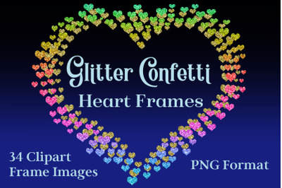 Glitter Confetti Heart Frames - Clipart Objects