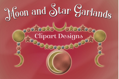 Moon and Star Garlands - Clipart Designs