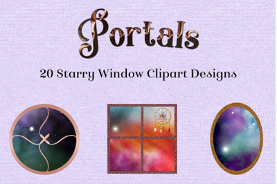 Portals - 20 Starry Window Clipart Designs