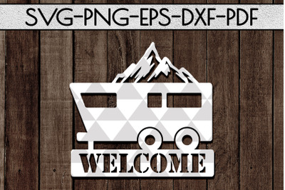 Welcome To Our Campsite Papercut Template, SVG, PDF, DXF