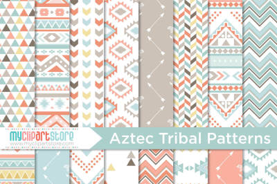Digital Paper - Tribal / American Indian / Aztec / Navajo / Geometric Patterns
