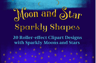 Moon and Star Sparkly Shapes - Clipart Designs