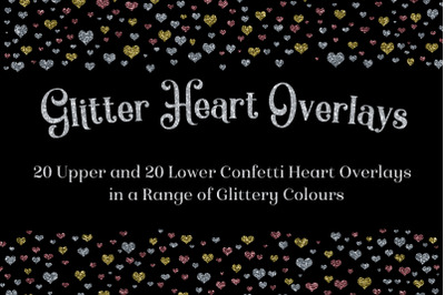 Glitter Heart Overlays Set