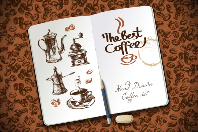 Retro Hand Drawn Sketch Coffee Set