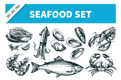 Hand Drawn Seafood Sketch Vector Set