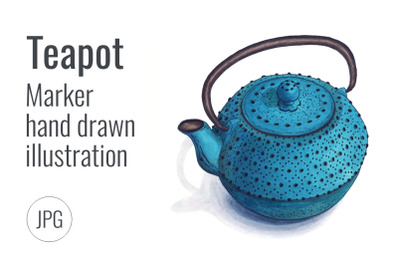 Hand drawn iron teapot