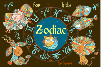 Zodiac signs for children. Funny horoscope in a cute style.