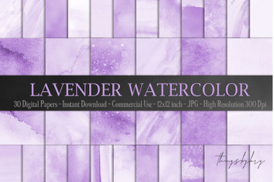30 Ombre Pastel Lavender Watercolor Painted Digital Papers