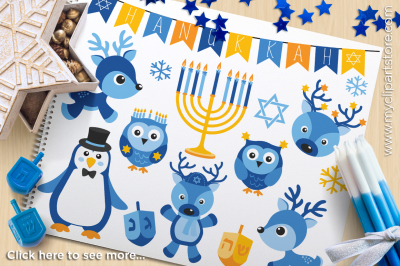 Hanukkah Animals / Friends Vector Clipart