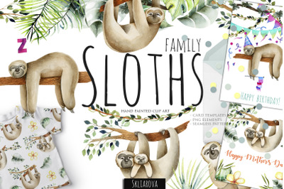 Sloths  family. Watercolor clipart.