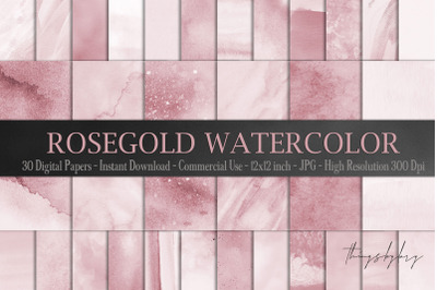 30 Ombre Rosegold Painted Brush Watercolor Digital Papers