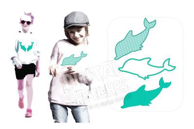 Dolphin Machine Embroidery Design Applique Set