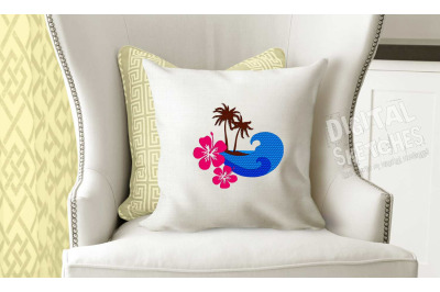 Island Palms Waves Sun Hibiscus Machine Embroidery Design 3 Sizes