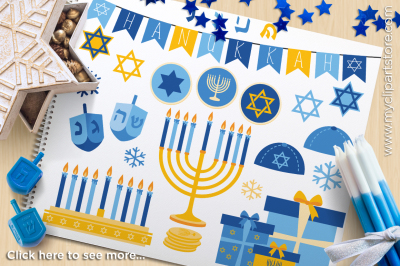 Hanukkah (Gold) / Menorah / Dreidel / Star of David Vector Clipart