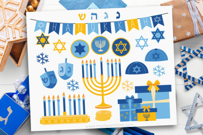 Hanukkah Clipart, Gold, Menorah, Vector, Sublimation, SVG
