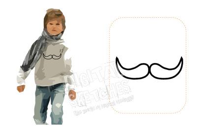 Mustache Applique Design Machine Embroidery Design 3 Sizes