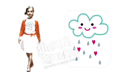Cloud Hearts Rain Applique Design Machine Embroidery Design 3 Sizes