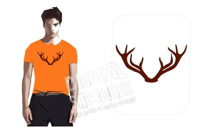 Deer Head Antlers Machine Embroidery Design