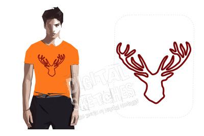 Deer Head Applique Design Machine Embroidery Design 5 Sizes