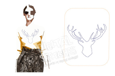 Deer Head Machine Embroidery Design Doodle Redwork 4 Sizes